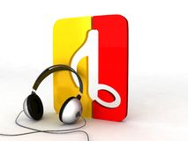 Three Dimensional Headphone With Musical Notes Royalty Free Stock Photography