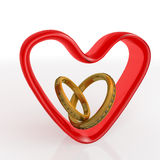 Three-dimensional heart and rings pair  over white. Vale Royalty Free Stock Photo