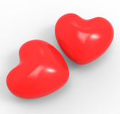Three Dimensional Hearts Means Affection Passion Stock Images