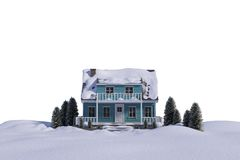 Three dimensional house snow covered Royalty Free Stock Image