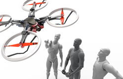 Three dimensional human play with quadcopter Royalty Free Stock Photography