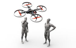 Three dimensional human play with quadcopter Stock Photos