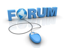 Internet Forum. Three dimensional illustration of blue mouse attached to Forum word and Globe World, on white background Stock Photos