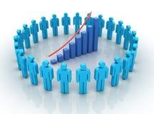 Teamwork Chart Rise. Three dimensional illustration of Chart moving up inside teamwork Stock Photo