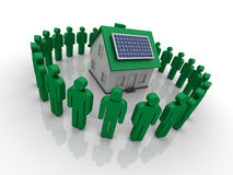 Community with Alternative Energy. Three dimensional illustration of Community and House with solar Planel Stock Images