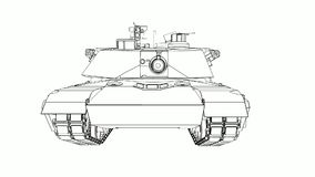 Modern American tank. Three-dimensional illustration of the contour lines stock footage