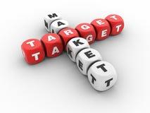Target Market Crossword. Three dimensional illustration of crossword cubes with Target Market words Stock Photos