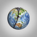 Three-dimensional illustration of damaged Earth planet with crack. Elements this image are furnished by NASA Stock Photo