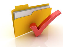 3D Folder with red check mark Royalty Free Stock Images