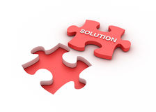 Puzzle solution. Three dimensional illustration of jigsaw piece with Solution Word stock illustration