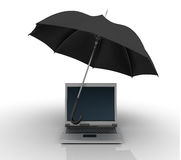 Laptop under Umbrella Royalty Free Stock Photography