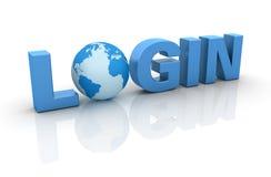 Login. Three dimensional illustration Login word and Globe World, on white background Royalty Free Stock Image