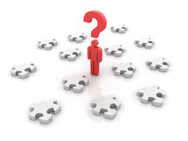 Questions. Three dimensional illustration of Man made with pictogram style on Jigsaw pieces and question mark Stock Photos