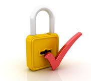 Padlock and Check Mark. Three dimensional illustration of Padlock and Check Mark Stock Photography