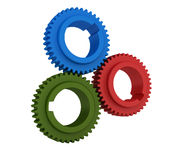 Gears. Three dimensional illustration of three colored gears Stock Photography