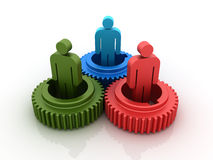 Gears with people. Three dimensional illustration of three colored gears with people Royalty Free Stock Photo