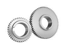 Gears. Three dimensional illustration of two chrome gears Royalty Free Stock Photos