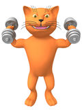 A three-dimensional image of a cat with dumbbells. Stock Photos