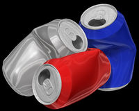 Three dimensional image of crumpled aluminum cans. Stock Photos