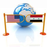 Three-dimensional image of the turnstile and flags of USA and Syria Stock Images