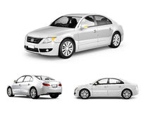 Three Dimensional Image of White Car Stock Images