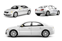 Three Dimensional Image of a White Car Stock Photography