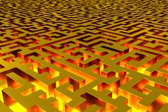 Three-dimensional infinite golden labyrinth illuminated from the inside. Perspective view of the labyrinth. 3d rendering, illustration vector illustration