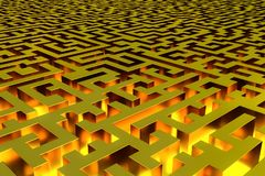 Three-dimensional infinite golden labyrinth illuminated from the inside. Perspective view of the labyrinth. 3d rendering, illustration stock illustration
