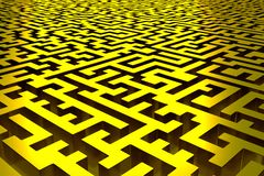 Three-dimensional infinite golden maze. Perspective view of the labyrinth. 3d rendering, illustration royalty free illustration