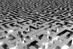 Three-dimensional infinite maze, illuminated from the inside. Perspective view of the maze. 3d rendering, illustration royalty free illustration