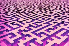 Three-dimensional infinite maze in red and purple, lit from the inside. Perspective view of the maze stock illustration