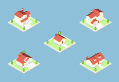 Three-dimensional isometric village buildings, Real estate icon Royalty Free Stock Photography