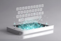 Three dimensional keyboard on smartphone. Royalty Free Stock Image