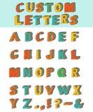 Three-dimensional layered custom children alphabet font. Royalty Free Stock Image