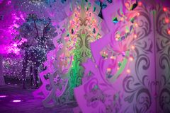 Three-dimensional light Christmas decoration in the form of Christmas trees Royalty Free Stock Photo