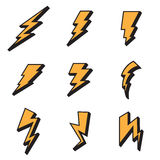 Three-dimensional lightning bolts drawn in cartoon style Royalty Free Stock Image