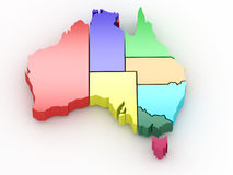 Three-dimensional map of Australia Royalty Free Stock Photos