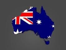 Three-dimensional map of Australia. Royalty Free Stock Photo