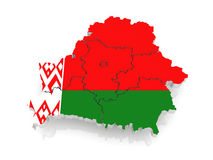 Three-dimensional map of Belarus. 3d Stock Images