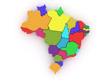 Three-dimensional map of Brazil. 3d Royalty Free Stock Photo