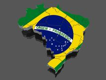 Three-dimensional map of Brazil. Royalty Free Stock Photos