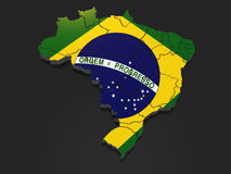 Three-dimensional map of Brazil. Royalty Free Stock Image