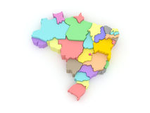 Three-dimensional map of Brazil. Stock Images