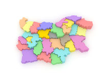 Three-dimensional map of Bulgaria. Royalty Free Stock Photo