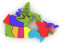 Three-dimensional map of Canada. 3d Royalty Free Stock Photo