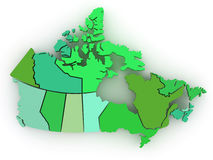 Three-dimensional map of Canada. 3d. Three-dimensional map of Canada on white isolated background. 3d Royalty Free Stock Images