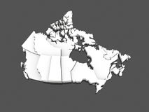 Three-dimensional map of Canada. Stock Photos