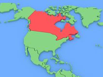 Three-dimensional map of Canada isolated. 3d Royalty Free Stock Photography