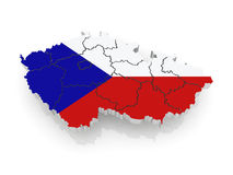 Three-dimensional map of Czech. Royalty Free Stock Photos