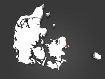 Three-dimensional map of Denmark. Royalty Free Stock Image